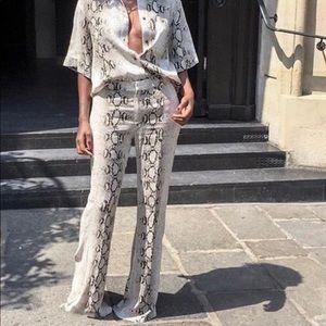 Never worn, Zara flared snakeskin pants